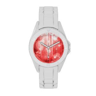corazones del bokeh 04, rojo (i) relojes de pulsera