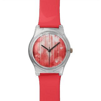 corazones del bokeh 04, rojo (i) relojes