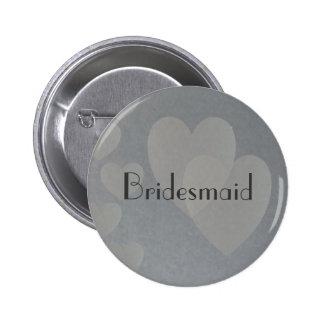 Corazones del botón de plata de la dama de honor pin redondo de 2 pulgadas