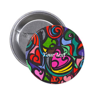 Corazones del botón del color (añada su texto) pin redondo de 2 pulgadas