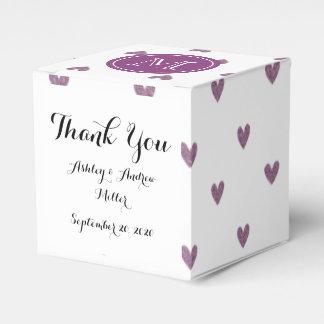 Corazones del brillo del ciruelo con el monograma cajas para regalos de fiestas