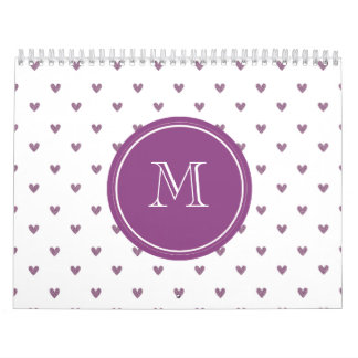 Corazones del brillo del ciruelo con el monograma calendario