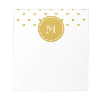 Corazones del brillo del oro con el monograma bloc de papel