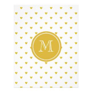 """Corazones del brillo del oro con el monograma folleto 8.5"""" x 11"""""""