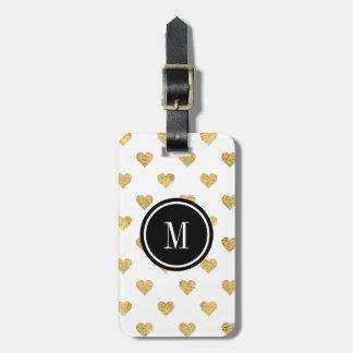 Corazones del brillo del oro etiquetas para maletas