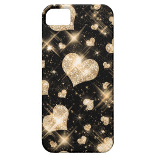 Corazones del brillo del oro funda para iPhone SE/5/5s