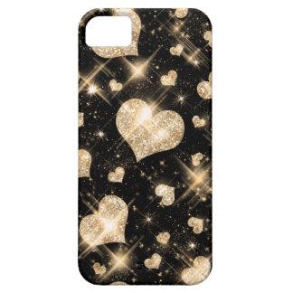 Corazones del brillo del oro funda para iPhone SE/5/5s