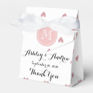 Corazones del brillo del rosa color de rosa de té cajas para detalles de boda