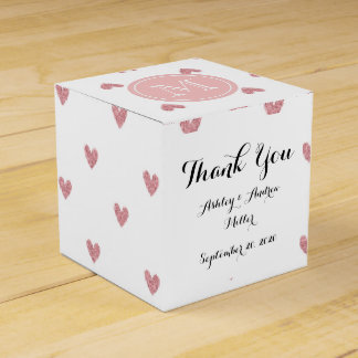 Corazones del brillo del rosa color de rosa de té cajas para regalos de boda