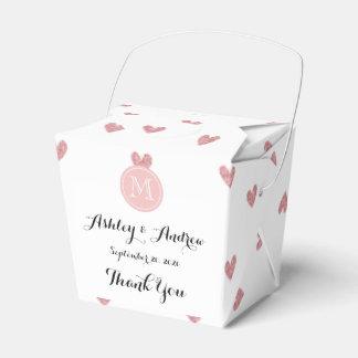 Corazones del brillo del rosa color de rosa de té cajas para regalos de fiestas