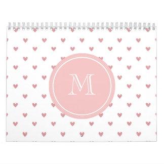 Corazones del brillo del rosa color de rosa de té calendario de pared