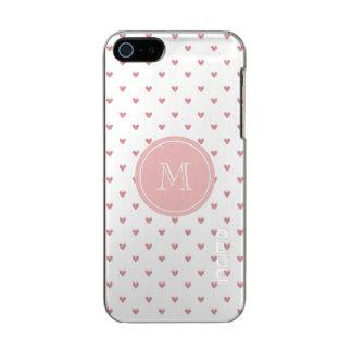 Corazones del brillo del rosa color de rosa de té carcasa de iphone 5 incipio feather shine