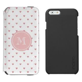 Corazones del brillo del rosa color de rosa de té funda billetera para iPhone 6 watson