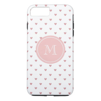 Corazones del brillo del rosa color de rosa de té funda iPhone 7 plus