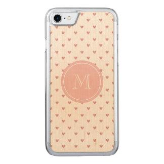 Corazones del brillo del rosa color de rosa de té funda para iPhone 7