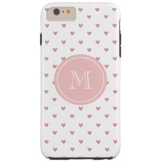 Corazones del brillo del rosa color de rosa de té funda resistente iPhone 6 plus