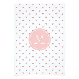 Corazones del brillo del rosa color de rosa de té invitación 12,7 x 17,8 cm