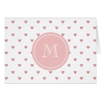 Corazones del brillo del rosa color de rosa de té tarjeta de felicitación
