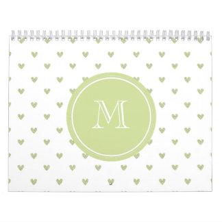 Corazones del brillo del verde de la primavera con calendario