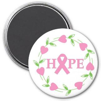 Corazones del cáncer de pecho de la esperanza imán redondo 7 cm