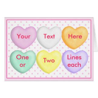 Corazones del caramelo, corazones de la conversaci tarjetón