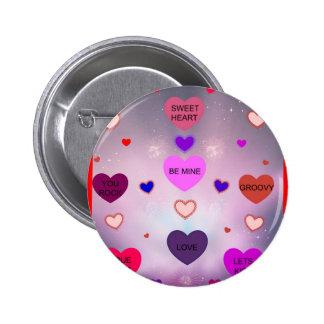 ¡Corazones del caramelo de Diamante Lavendar! Pin Redondo De 2 Pulgadas
