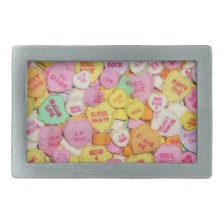 Corazones del caramelo de la tarjeta del día de Sa Hebilla De Cinturón Rectangular