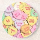 Corazones del caramelo de la tarjeta del día de Sa Posavasos Personalizados
