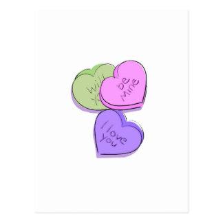 Corazones del caramelo de las tarjetas del día de tarjetas postales