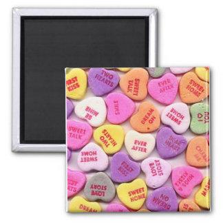 Corazones del caramelo del el día de San Valentín Imán Cuadrado