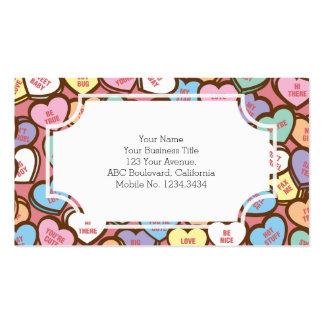 Corazones del caramelo dulces nada tarjeta del día tarjetas de visita