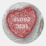 Corazones del caramelo etiqueta redonda