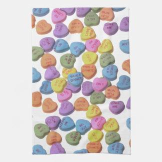 Corazones del caramelo toallas de cocina