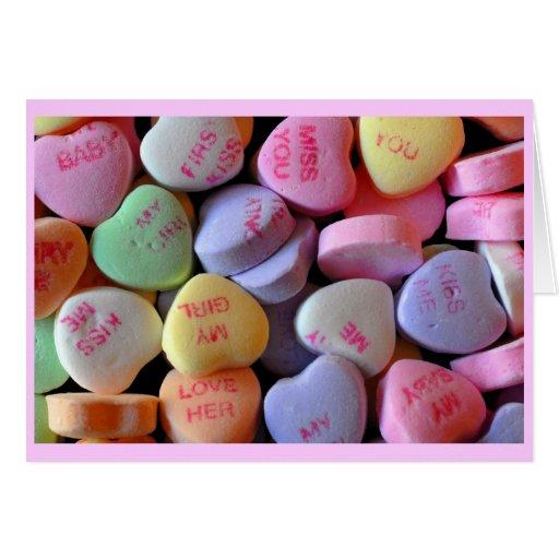Corazones del caramelo para el el día de San Valen Tarjeta De Felicitación