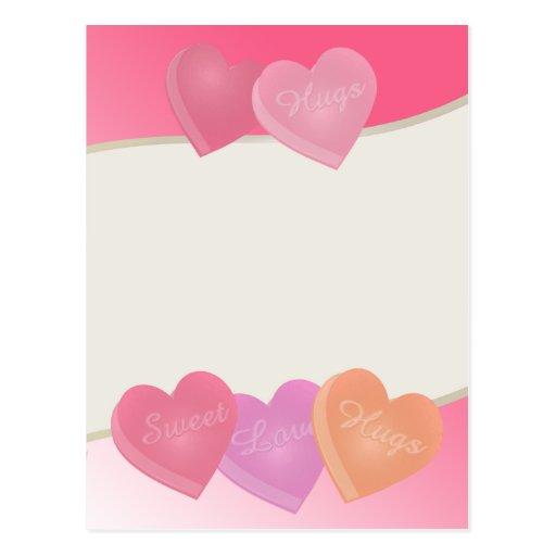 Corazones del caramelo postal