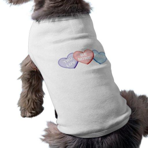 Corazones del caramelo ropa para mascota