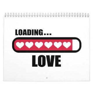 Corazones del cargamento del amor calendarios