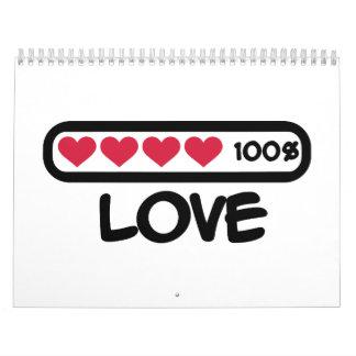 Corazones del cargamento del amor calendario