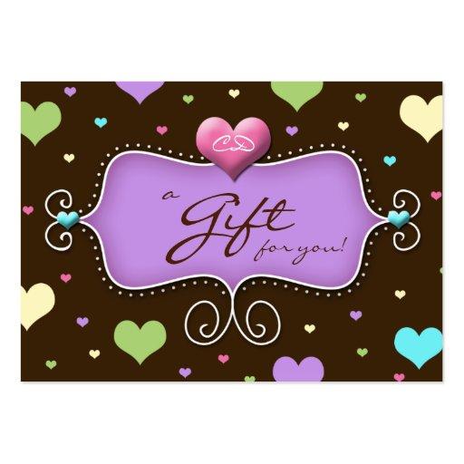 Corazones del chocolate de la tarjeta de regalo de tarjetas de visita