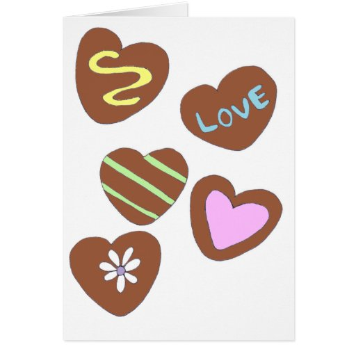 Corazones del chocolate felicitación