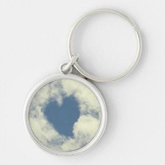Corazones del cielo azul y de las nubes llaveros