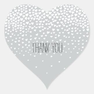 Corazones del confeti del blanco gris pegatina en forma de corazón