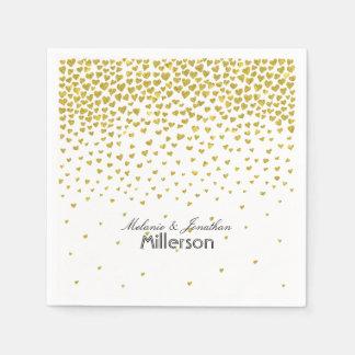 Corazones del confeti del oro servilletas desechables