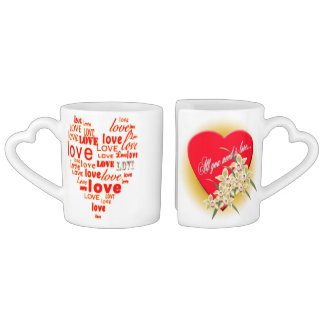 Corazones del corazón que casan arte de la paz del taza para enamorados