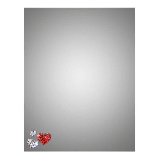 Corazones del diamante - papel de letra de los efe plantilla de membrete
