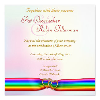 Corazones del doble de la cinta del arco iris que  comunicados personales