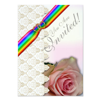 Corazones del doble de la cinta del arco iris que invitacion personalizada
