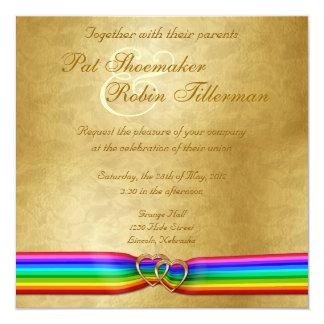 """Corazones del doble de la cinta del arco iris que invitación 5.25"""" x 5.25"""""""