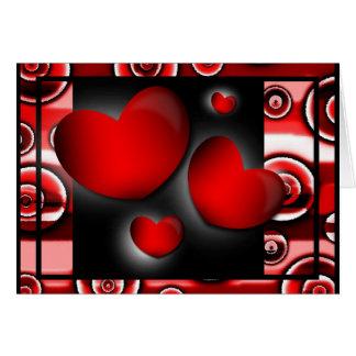 Corazones del el día de San Valentín de la tarjeta
