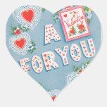 Corazones del el día de San Valentín del vintage Calcomanías Corazones